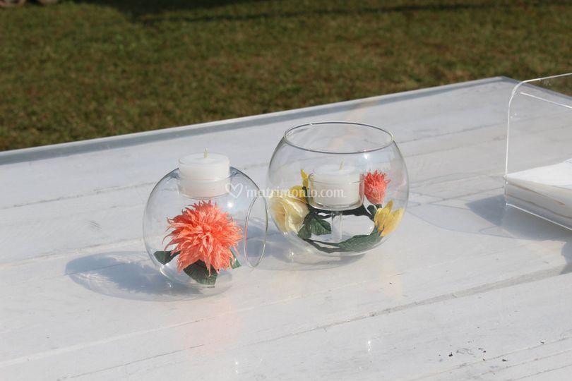 Portacandela con fiori