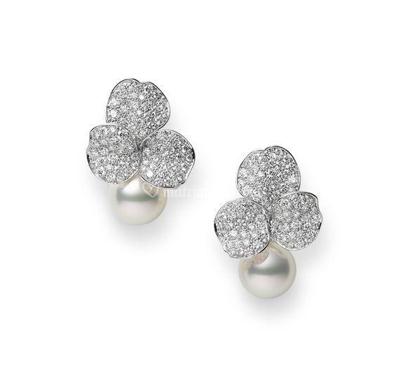 Orecchini oro diamanti e perle