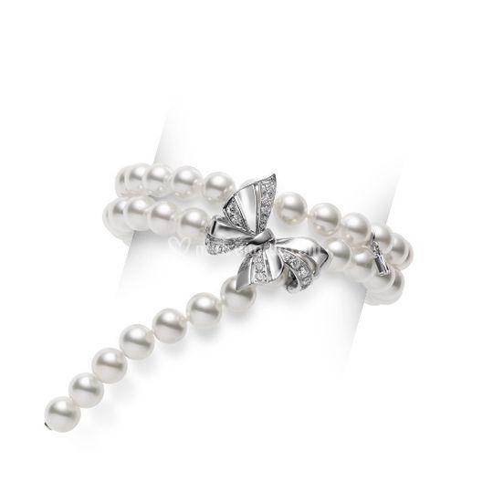 Bracciale oro diamanti e perle