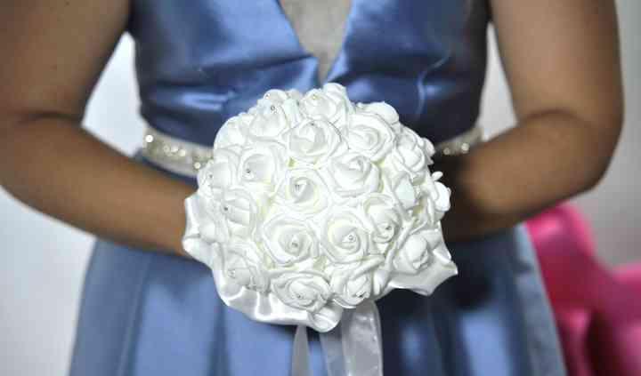 Bouquet rose bianche e strass