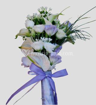 Bouquet sposa da lisianthus lilla