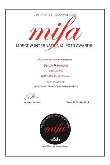 Certificato vincita MIFA