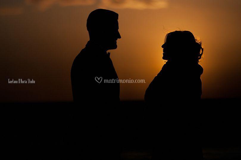 Siluette mare sposi amore