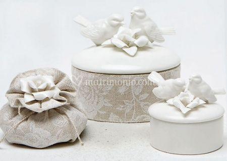 Bomboniere ceramica bianca