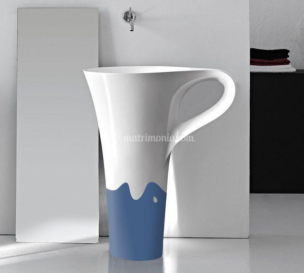 Lavabo centro stanza Cup decoro azzurro
