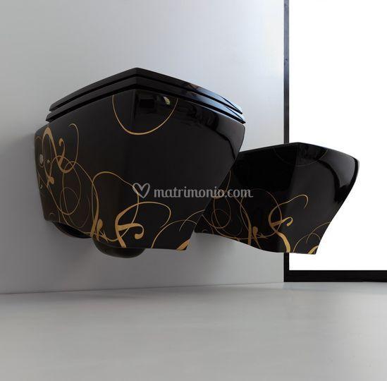 Civita Castellana Ceramiche Bagno.Sanitari Bagno Jazz Sospesi Decoro Lettering Nero Oro Di Ceramiche