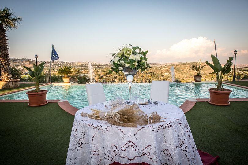Vista del tavolo sposi