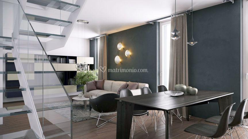Soggiorno parete verde di meka arredamenti mobili e for Mobili complementi d arredo