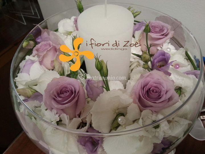 Coppa floreale bianco-lilla