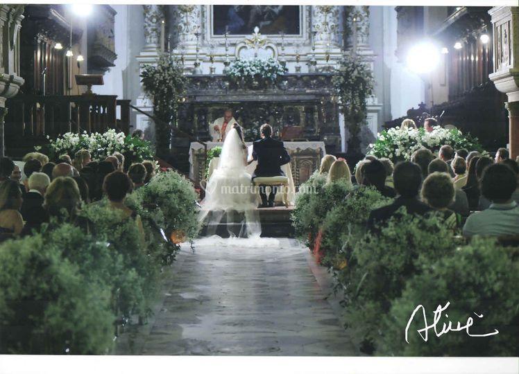 Addobbo chiesa bianca e verde