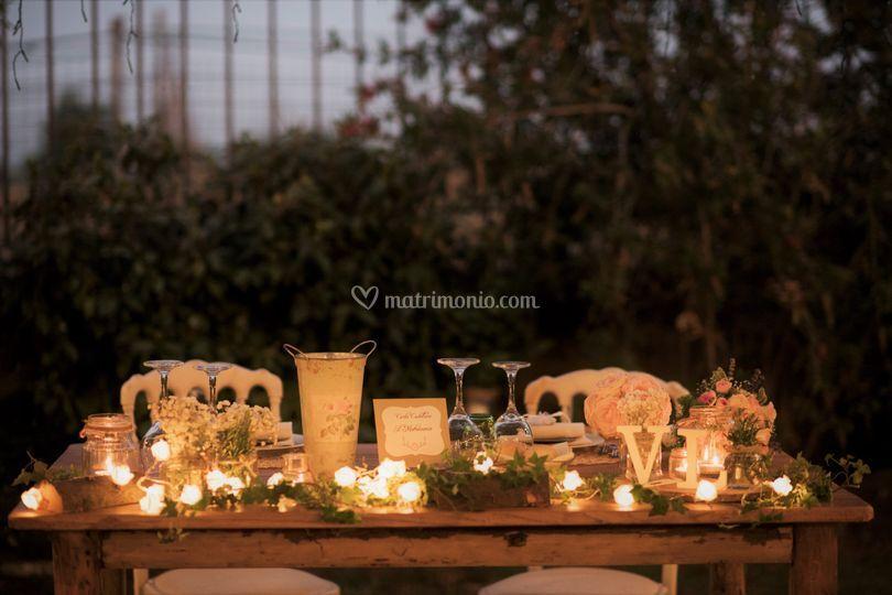 Allestimento tavolo sposi boho