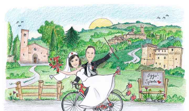 Scenetta sposi in bicicletta