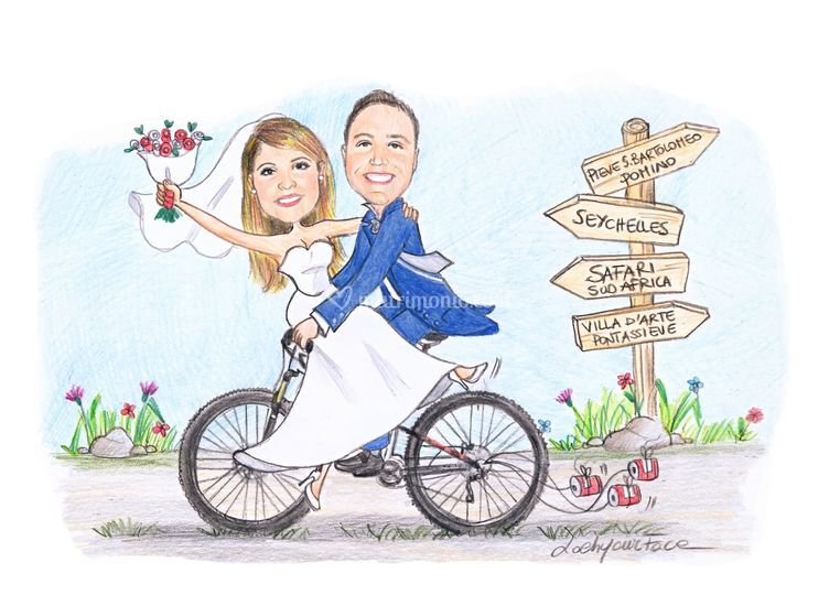 Sosi in bicicletta e cartelli