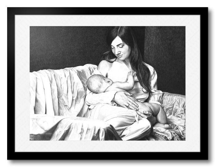 Donna con bambino . b/n