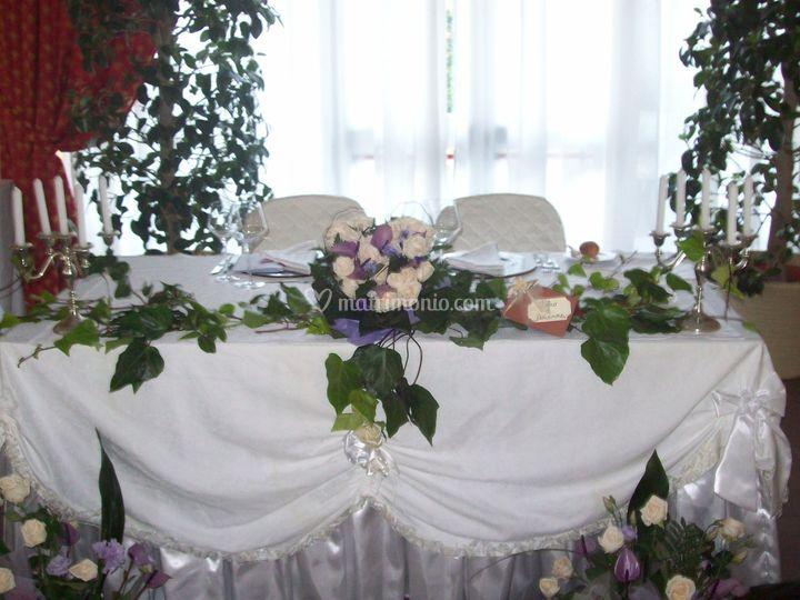 Bien connu Addobbo tavolo sposi con anthurium previa e rose panna di Miraglia  GQ35