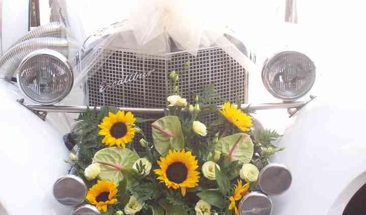 Composizione auto con girasole, lisianthus (o eustoma) panna e anthurium pistacchio