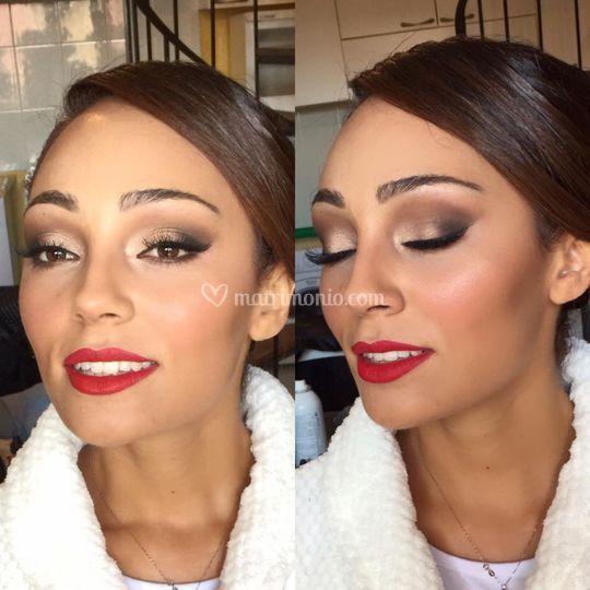 Prima e dopo il makeu-up sposa