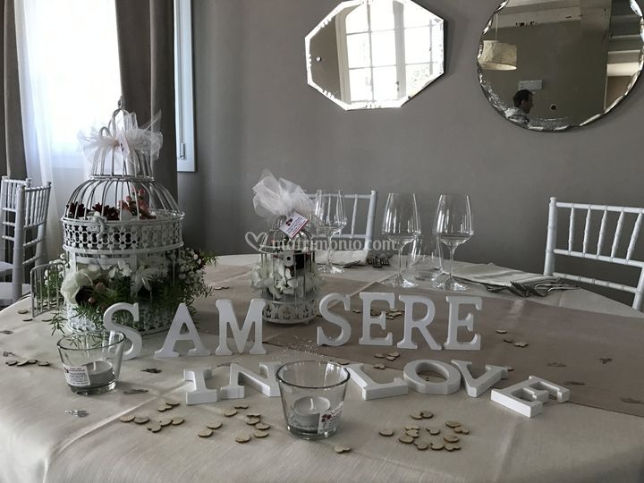 Tavolo sposi con lanterne