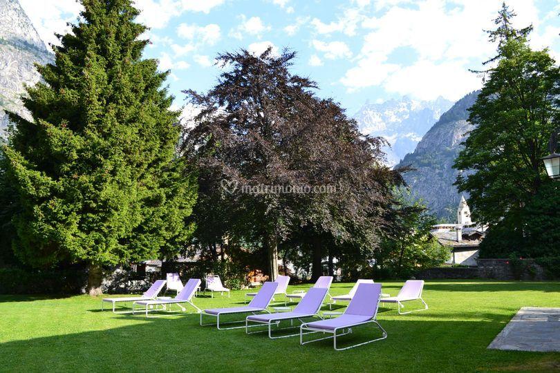 Giardino vista Monte Bianco