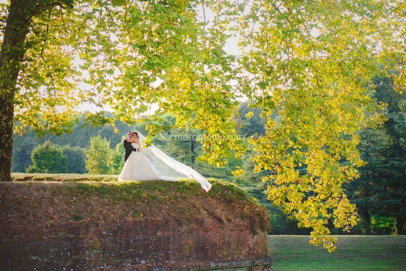 Sposa sulle mura di Lucca