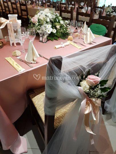 Tavolo sposi rosa antico