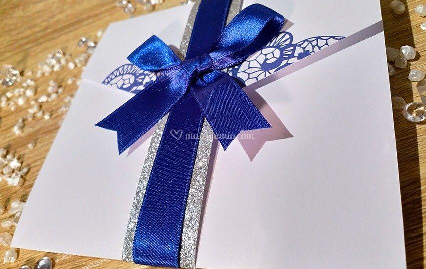 Partecipazioni blu-glitter