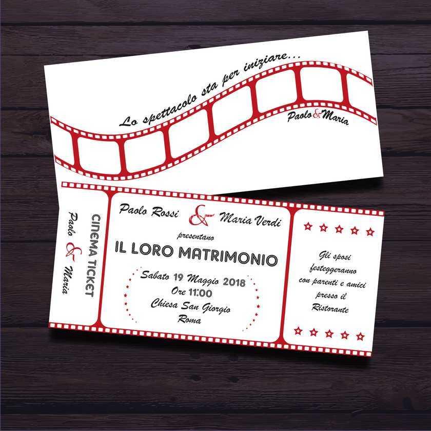 Partecipazioni Matrimonio Tema Cinema.Partecipazione Tema Cinema Di Artiffany Foto 9