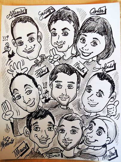 Caricature amici  sposi