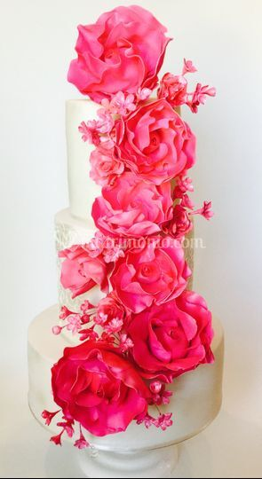 Fucsia sugar flowers