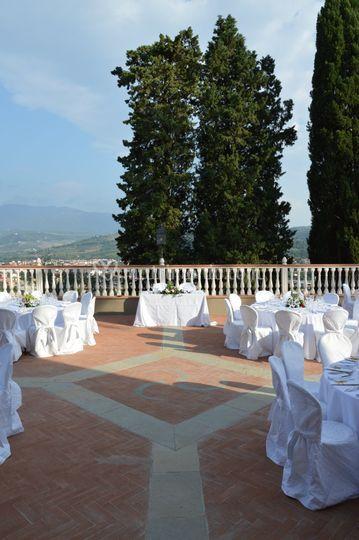 Allestimento in terrazza