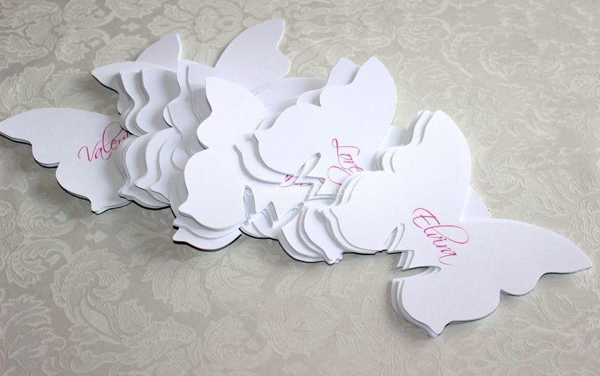 Farfalle con nomi segnaposto