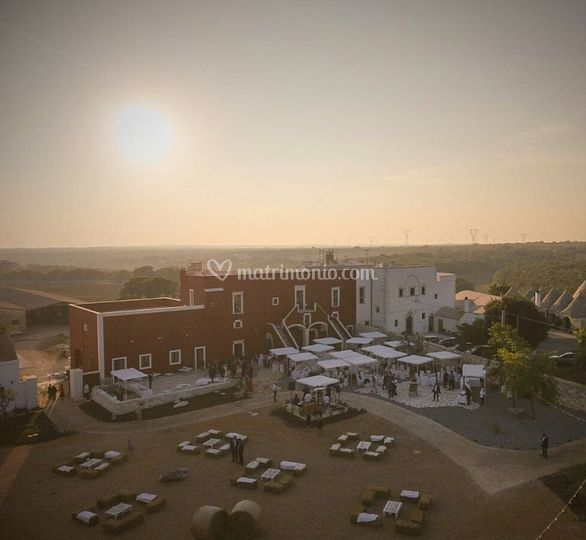 Sunset drone view