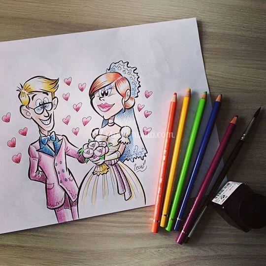 Caricature degli sposi