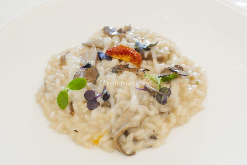 Risotto ai funghi cardoncelli, crema di topinambur e sentori di tartufo nero