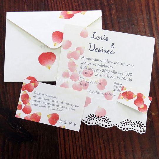 Partecipazioni nozze petali