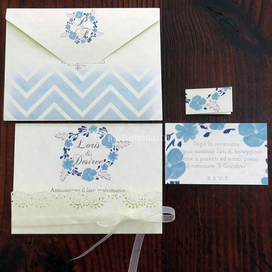 Partecipazioni nozze blu