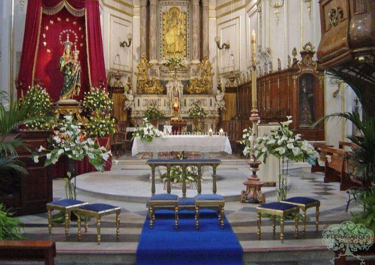 Addobbo chiesa blu