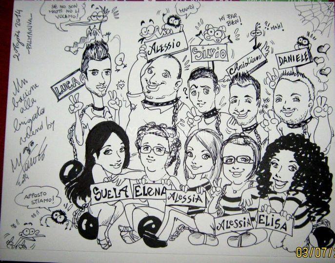 Caricature di gruppo