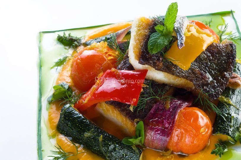 Rombo chiodato alle verdure