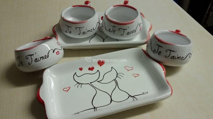 """Set  duo caffè """"je t'aime"""""""