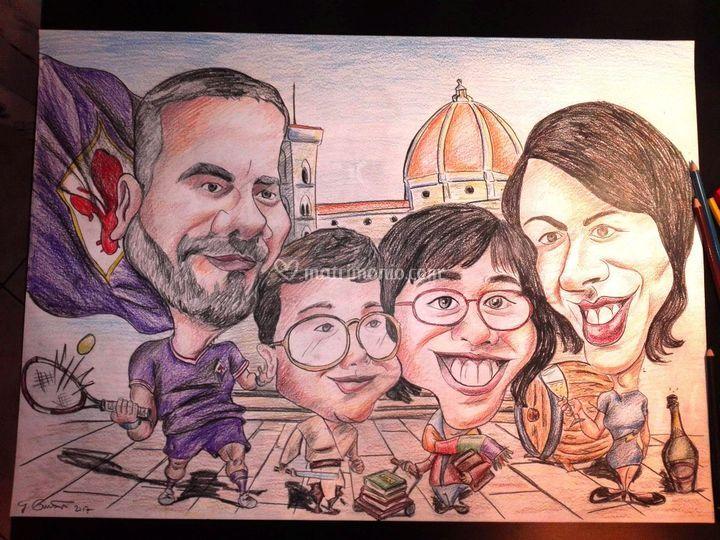 Caricatura di famiglia a color