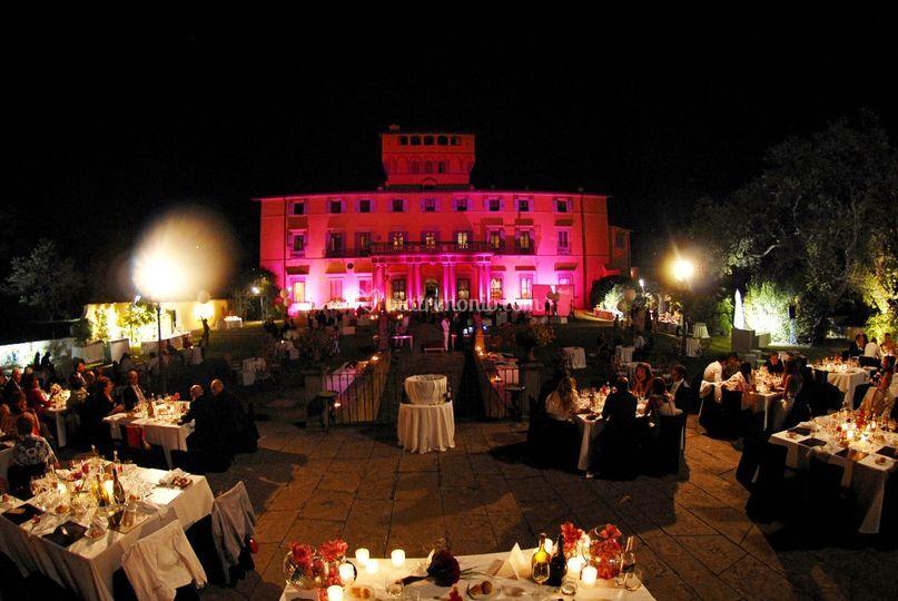 Villa di Maiano-Cena con vista