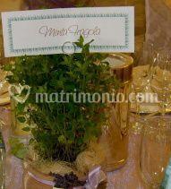 Centrotavola con pianta aromatica