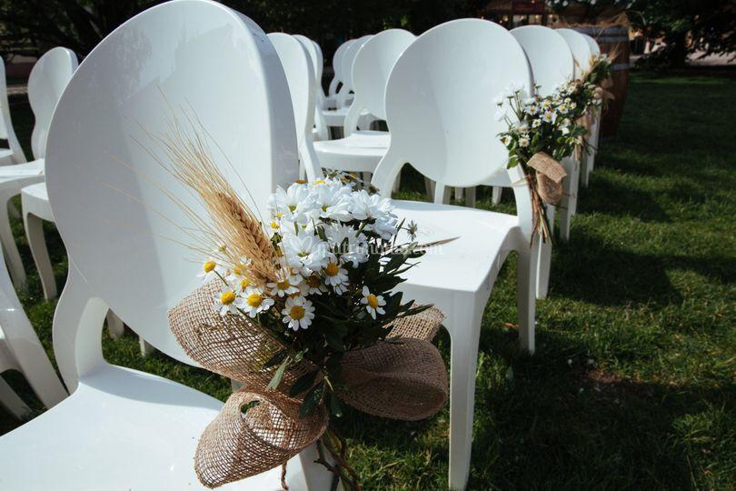 Decori sedie cerimonia rustic