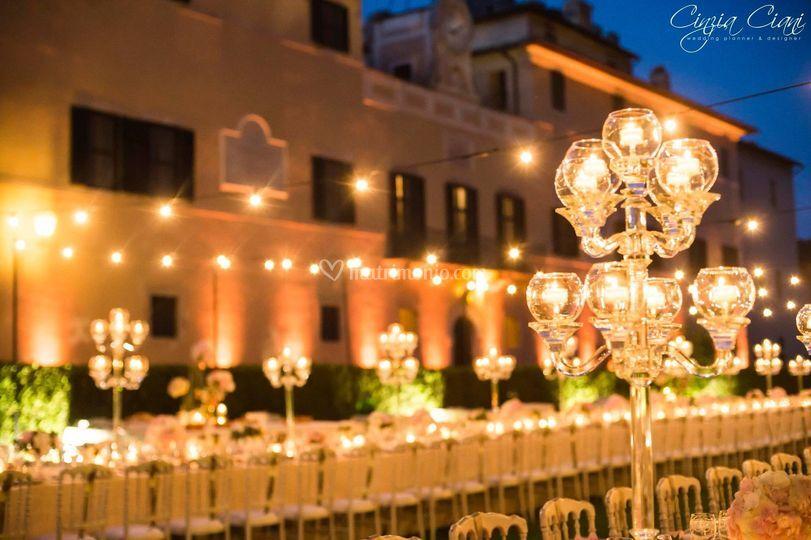 Illuminazione con lampadine di roma party service foto
