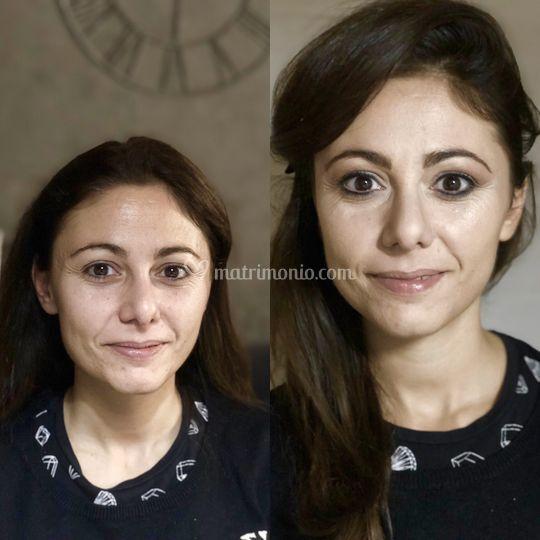 Prima e dopo trucco correttivo