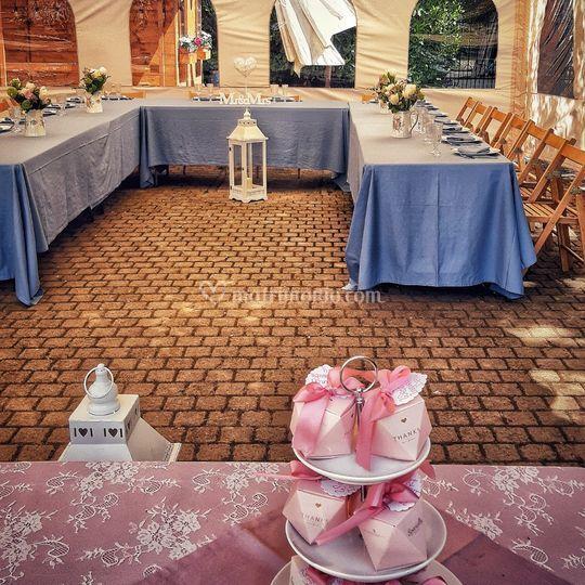 Banchetto e tavolo confettata