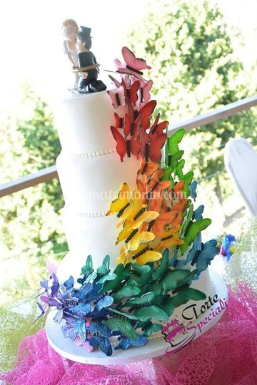 Rainbow wedding g cake