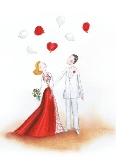 Illustrazione sposi/palloncini