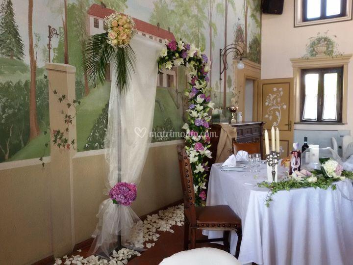 Tavolo sposi tenuta val minier